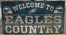"""PHILADELPHIA EAGLES WELCOME TO EAGLES COUNTRY WOOD SIGN 13""""X24'' NEW WINCRAFT"""