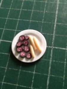 Black Pudding And Sausages On Card Plate 1:12th Dolls House Miniature