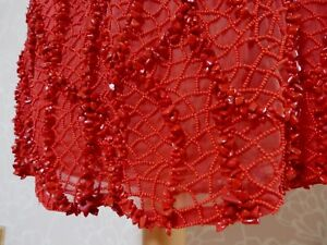 Valentino  COCKTAIL DRESS  RED STONE & BEAD EMBELLISHED  Size UK 10