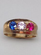 14K Yellow Gold Created Sapphire, Pink Sapphire and Ruby Ring Size 6.25