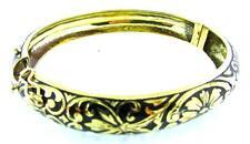 Hand Engraved Bangle Bracelet From Spain Estate 14 Kt Yellow Gold Black Enamel