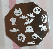 Nail Art Stamping Schablone Halloween HD 2 XL Design Fledermaus Axt Schädel