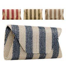 Ladies Designer Striped Envelope Clutch Bag Evening Bag Party Handbag KK2266