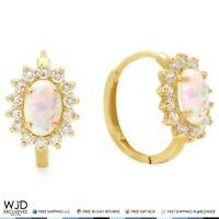 0.70Ct Simulated Diamond & Oval Fire Opal 14k Yellow Gold Huggie Hoop Earrings