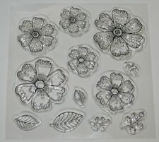 Open Flower & Leaves Clear Stamp Set - BNIP - Free P & P