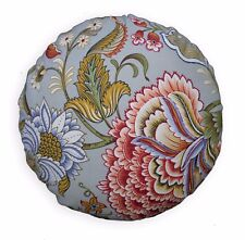 lf342n Light Grey Sky Blue Red Sand White Cotton Canvas Round Seat Cushion Cover