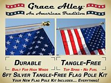 Flag Pole Kit Stars and Stripes Flagpole Silver Wind Resistant Rust .