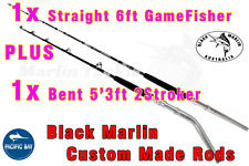 2x BMA 24kg Stand-up Game Fishing Rods 1x Str 6ft 1x Bent 5'3ft Trolling Lures..