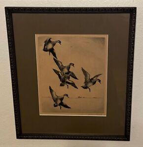Original ROLAND CLARK Pencil Signed Sporting Art Etching -American Widgeon, 1924