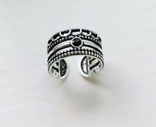 925 Silver Adjustable Ring Stackable Ring Black Stone Onyx Ring Thumb Ring Boho