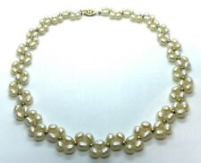 "Freshwater White Pearl & 14K Gold Filled 16"" Double String Choker Necklace"