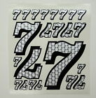 Racing Numbers 7 Decal Sticker Pack Silver Black Outline 1/8 1/10 RC models S07