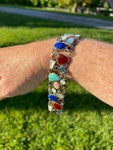 Sterling Silver Multi- Stone Wide Band Bracelet with Box Clasp 925LT Thailand