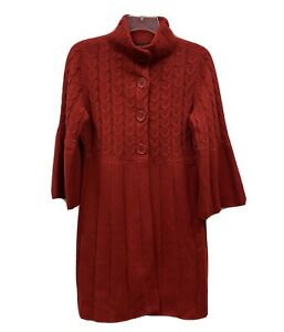 The Limited Womens Red Cardigan Sweater Sz M Button Front 3/4 Sleeves