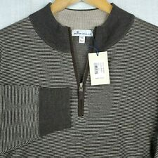 New Peter Millar Size 2Xl 1/4 Zip Extrafine Merino Wool Sweater Striped Xxl $245