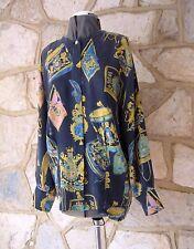 Vintage ESCADA  Margaretha Ley Size 12 Pure Washed Silk Scarf Print Blue Blouse
