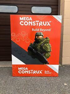 Toys R us Mega construx Halo Master Chief CARDBOARD DISPLAY SIGN LARGE SHELF 1