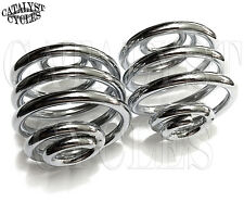 "Chrome Solo Seat Springs for Harley & Custom (2"" PAIR) Chrome Barrel Springs"