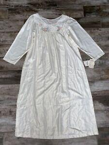 NWT Vintage Barbizon Cuddleskin Nightgown - Flower Ivory Angela NOS Size XL
