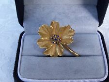Ladies Leaf Shaped Brooch Pin Designed in 18K Yellow Gold w/7 Blue Sapphires