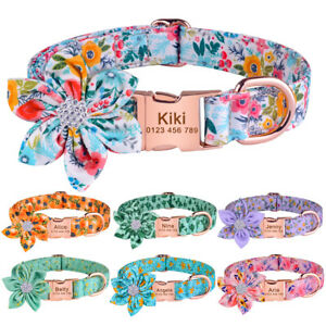 Flower Personalised Girl Dog Collar Engraved Puppy Name ID Tag Quick Release