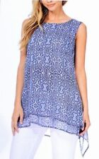 NWT Fever Ladies' Double Layer Tank Top Tunic Cobalt Blue Print Sleeveless LARGE