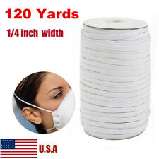 120 yards 6mm Elastic Band 1/4 inch Trim Braided Flat DIY Mask USA SELLER