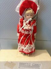 New Porcelain Doll Baxter and Smythe 8 Inch Girl in Red Dress roses undisplayed