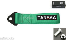1 TANAKA UNIVERSAL GREEN RACING SPORTS TOW STRAP TOW HOOK 8000 LBS NEW