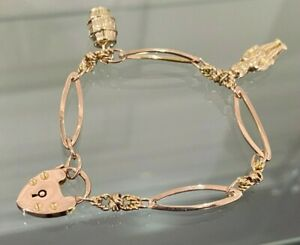 Antique 9K Solid Gold w/ Padlock & Charms Bracelet 9.95g / 17.5cm