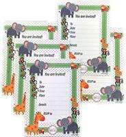 Jungle Safari Baby Shower Treat Boxes & Invitations Animal Theme Favors Set