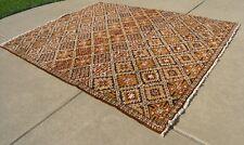 "Mid Century Moroccan Hand Woven Rabat Moyen Atlas Oriental Rug Carpet 94x122"""