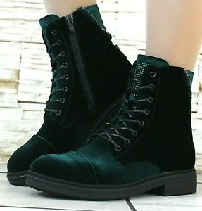 WOMENS VELVET GREEN MILITARY BOOTS ARMY COMBAT ANKLE LACE UP FLAT BIKER SHOES