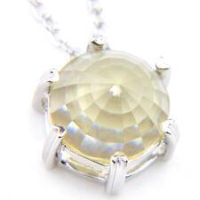 10MM Classic Round Cut Fire Lemon Citrine Gems Silver Pendants Necklaces