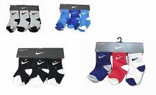 Sale 6 Pair Nike Baby Boy Toddler Socks Black Gray White Blue 6-24 months & 2-4T