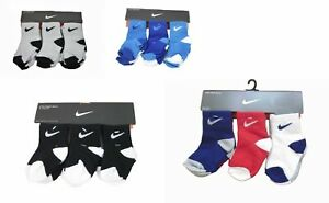 Sale 6 Pair Nike Baby Boy Toddler Socks Black Gray White Blue 6-24 months & 2-4T