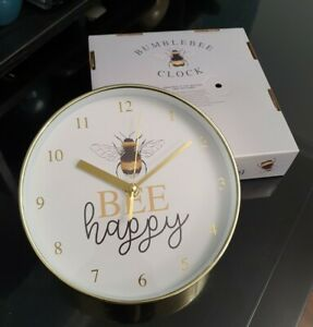 20cm BEE HAPPY BUMBLE BEE  Small Round Wall Clock Polished Yellow Gold Effect