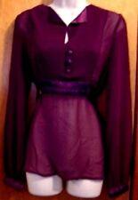 Purple Blouse Top Tunic Long Sleeve Empire Waist Junior Size M Medium New