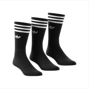 Adidas Originals 3 Pack Crew Logo Socks New in Black UK size 5.5-12