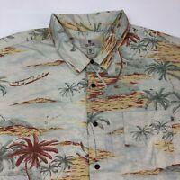Solitude Button Up Shirt Men's Size 2XL XXL Short Sleeve Blue Tan Hawaiian