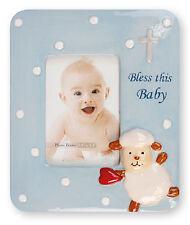 "Baby Boy Christening Baptism Blue Porcelain Photo Picture Frame 4 3/4"" x 5 3/4"""
