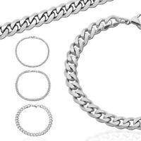 Herren Armband 22cm Panzerkette Flach Figaro Edelstahl Damen Armkette Silbern