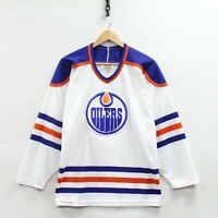Vintage Edmonton Oilers CCM Maska Jersey Size Medium White 90s NHL Stitched