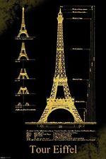"""EIFFEL TOWER DESIGN CONSTRUCTION TOUR EIFFEL 91 x 61 cm 36 x 24"""" POSTER x"""
