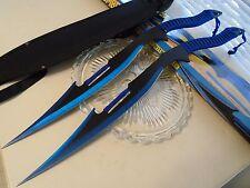 "Blue Bombers Titanium Coat Swords Machete Knife 2 Pc Set 440 SS W Sheath 26"" New"