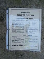 1952 Evinrude Fleetwin Outboard Parts List 4443 4444 4447 4448 MORE IN STORE  L