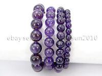 Handmade Natural Amethyst Gemstone Round Beads Stretchy Bracelet Reiki Chakra