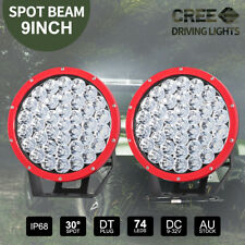 2x 9 inch CREE LED SPOT Driving Lights Truck Ute Round Spotlights 12V RED 99999W