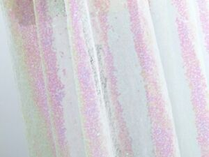 White Pink Iridesent Sequin Fabric Sparkly 3mm Sequins Fabric for Wedding Dress