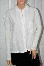 Standart James Perse Jersey Long Sleeves Cotton Button up White Shirt sz 1